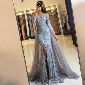Dresses & Skirts - ISO glitter sleeve slit off shoulder gown